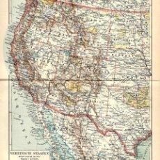 Arte: COSTA OESTE ESTADOS UNIDOS DE AMÉRICA CALIFORNIA AÚN MEJICANA OCEÁNO PACÍFICO. Lote 112637895