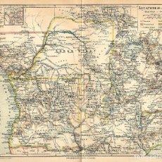 Arte: MAPA ÁFRICA ECUATORIAL GUINEA ESPAÑOLA ZANZIBAR COLONIAS PORTUGAL ALEMANIA FRANCIA GRAN BRETAÑA . Lote 112784639