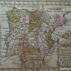 Arte: CARTOGRAFIA,MAPA DE ESPAÑA MINIATURA AÑO 1765,REY CARLOS III,IMPRESO EN MADRID,COLOREADO,SIGLO XVIII. Lote 112894883
