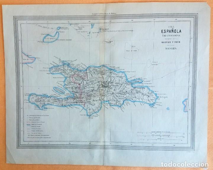 MAPA ANTIGUO SANTO DOMINGO AÑO 1852 CON CERTIFICADO AUTENTICIDAD. MAPAS ANTIGUOS DEL CARIBE (Arte - Cartografía Antigua (hasta S. XIX))