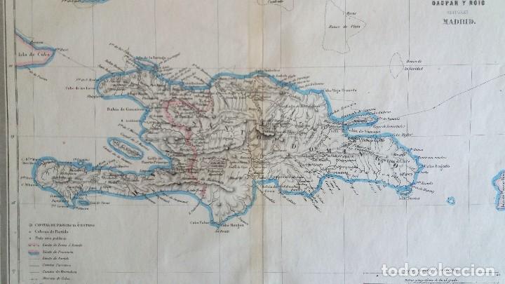 Arte: Mapa antiguo Santo Domingo año 1852 con certificado autenticidad. Mapas antiguos del Caribe - Foto 2 - 113996143