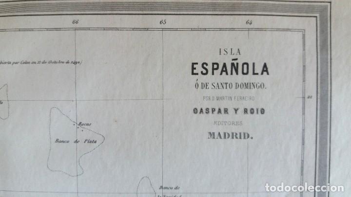 Arte: Mapa antiguo Santo Domingo año 1852 con certificado autenticidad. Mapas antiguos del Caribe - Foto 3 - 113996143