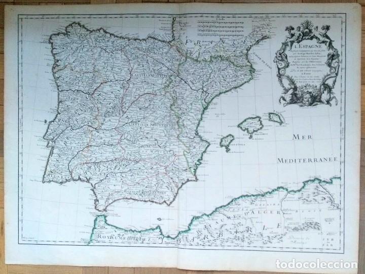 MAPA ANTIGUO ESPAÑA AÑO 1701 CON CERTIFICADO DE AUTENTICIDAD. MAPAS ANTIGUOS ESPAÑA GENERAL (Arte - Cartografía Antigua (hasta S. XIX))