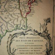 Arte: MAPA SURESTE PENÍNSULA IBÉRICA,ESPAÑA. CASTILLA, EXTREMADURA,ANDALUCÍA,MURCIA. ROBERT VAUGONDY(1751). Lote 114790447