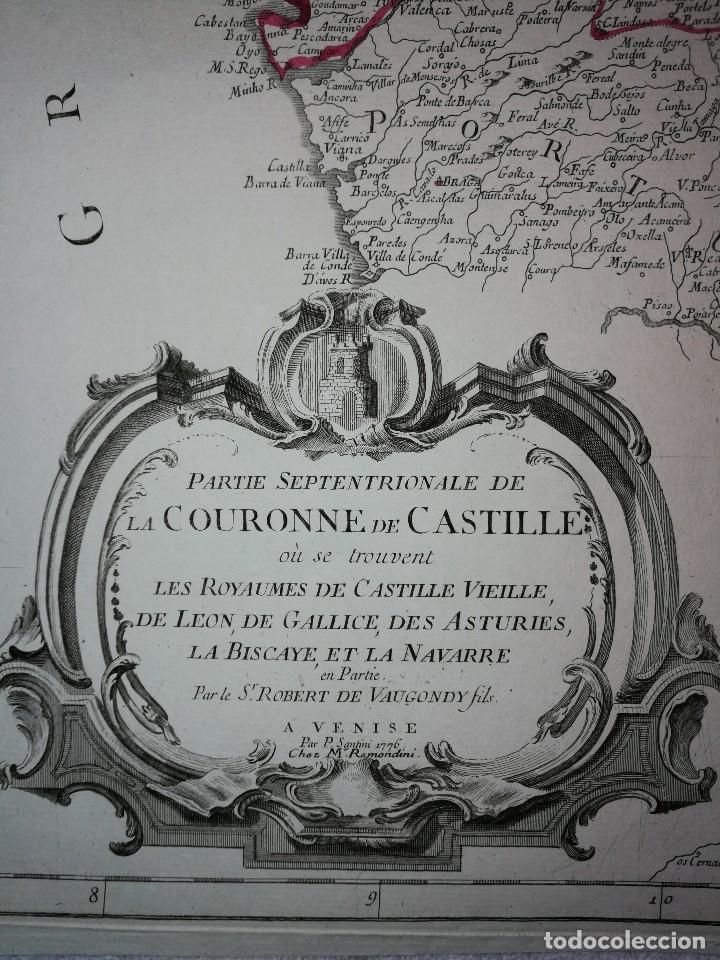 MAPA NOROESTE DE LA PENÍNSULA IBÉRICA,ESPAÑA PORTUGAL.ROBERT VAUGONDY/SANTINI/REMONDINI(1776)VENECIA (Arte - Cartografía Antigua (hasta S. XIX))