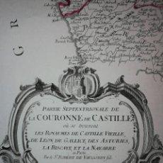 Arte: MAPA NOROESTE DE LA PENÍNSULA IBÉRICA,ESPAÑA PORTUGAL.ROBERT VAUGONDY/SANTINI/REMONDINI(1776)VENECIA. Lote 114790891