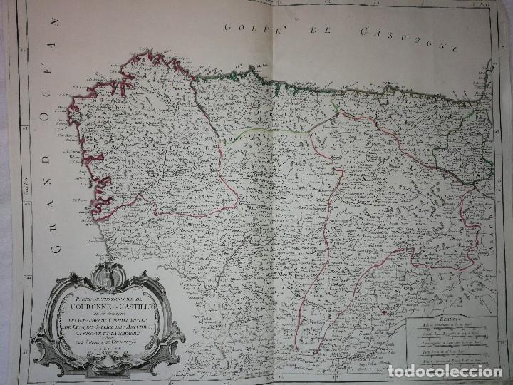 Arte: MAPA NOROESTE DE LA PENÍNSULA IBÉRICA,ESPAÑA PORTUGAL.ROBERT VAUGONDY/SANTINI/REMONDINI(1776)VENECIA - Foto 2 - 114790891