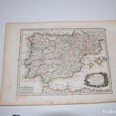 Arte: MAPA PENÍNSULA IBÉRICA.ESPAÑA Y PORTUGAL.L'ESPAGNE SUIVANT LES NOUVELLES OBSERVATIONS. LE ROUGE.1756. Lote 116094415