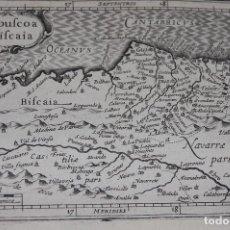 Arte: MAPA DE GUIPUZCOA, VIZCAYA (PAIS VASCO) Y NAVARRA.1616. 13 X 19,5 CM. BERTIUS-HONDIUS, [AMSTERDAM]. Lote 116097463