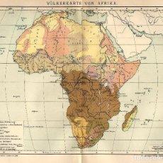 Arte: MAPA ETNOGRAFICO AFRICA PUEBLOS AFRICANOS MAPA ORIGINAL SIGLO XIX . Lote 116706495