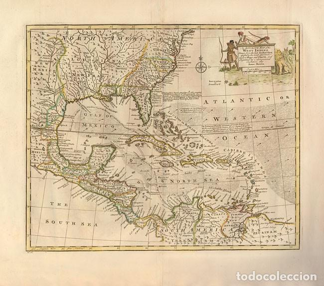 AN ACCURATE MAP OF THE WEST INDIES. DRAWN FROM THE BEST AUTHORITIES... BOWEN. 1747 (Arte - Cartografía Antigua (hasta S. XIX))