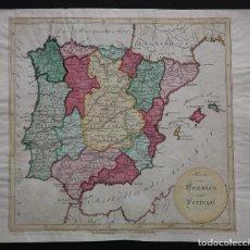 Arte: LÖTTER. MAPA PENÍNSULA IBÉRICA. ESPAÑA Y PORTUGAL. ORIGINAL. CIRCA 1780.. Lote 195368608