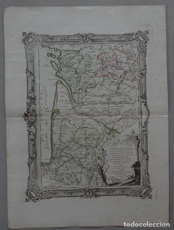 GRAN MAPA DEL SUDOESTE DE FRANCIA ( EUROPA ), 1766. DESNOS (Arte - Cartografía Antigua (hasta S. XIX))