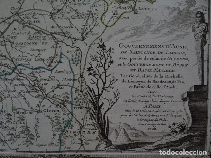 Arte: Gran mapa del sudoeste de Francia ( Europa ), 1766. Desnos - Foto 2 - 118034399