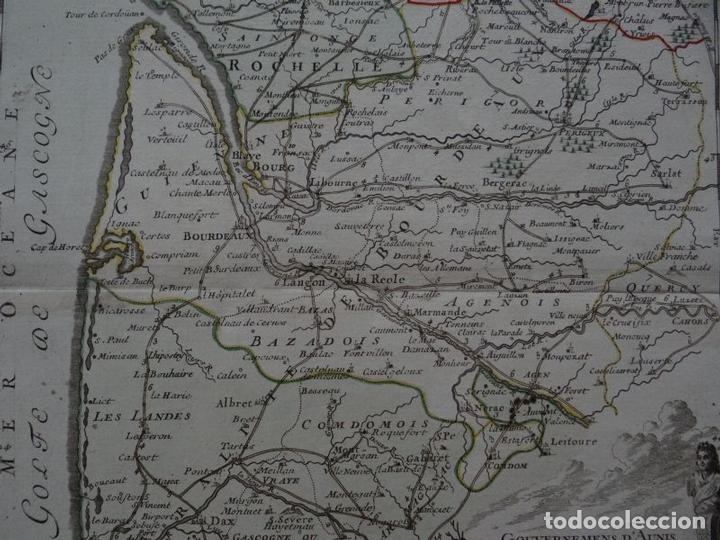 Arte: Gran mapa del sudoeste de Francia ( Europa ), 1766. Desnos - Foto 4 - 118034399