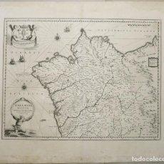 Arte: GRAN MAPA DEL ANTIGUO REINO DE GALICIA (ESPAÑA), 1640. BLAEU. Lote 195034830