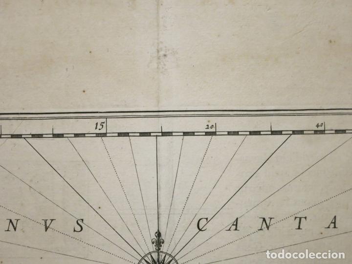 Arte: Gran mapa de Vizcaya, Guipúzcoa, Álava y Cantabria ( norte de España), 1640. Blaeu - Foto 7 - 118034699