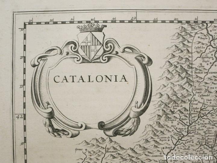 Arte: Gran mapa de Cataluña (España), 1640. Blaeu - Foto 2 - 118034747