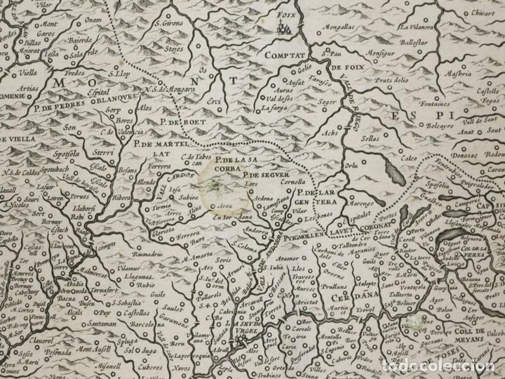 Arte: Gran mapa de Cataluña (España), 1640. Blaeu - Foto 4 - 118034747