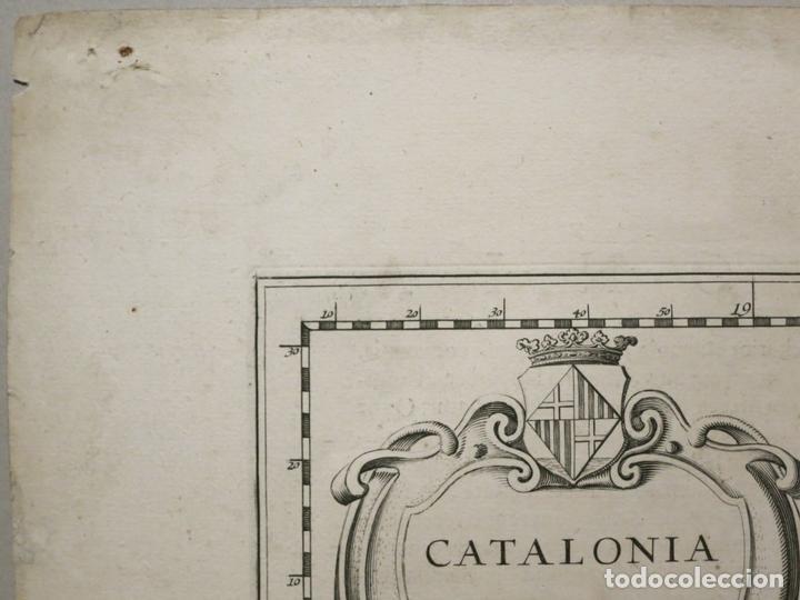 Arte: Gran mapa de Cataluña (España), 1640. Blaeu - Foto 5 - 118034747