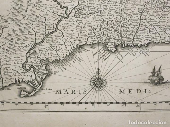 Arte: Gran mapa de Cataluña (España), 1640. Blaeu - Foto 7 - 118034747