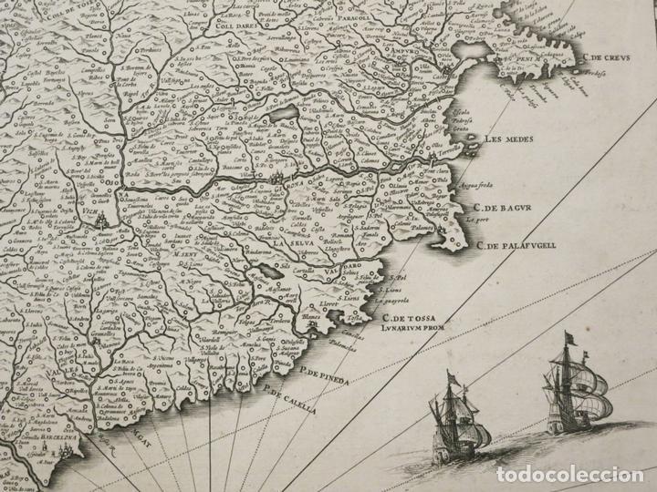 Arte: Gran mapa de Cataluña (España), 1640. Blaeu - Foto 8 - 118034747