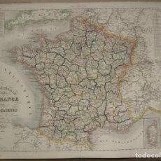 Arte: GRAN MAPA DE CARRETERAS DE FRANCIA, 1836. LORAIN. Lote 118084003