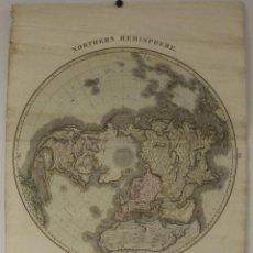 Arte: MAPA DEL HEMISFERIO NORTE DEL MUNDO, 1817. THOMSON. Lote 118387099