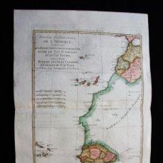 Art: MAPA DE ÁFRICA OCCIDENTAL Y LAS ISLAS CANARIAS ( ESPAÑA ) Y DE CABO VERDE, 1787. BONNE. Lote 118823751