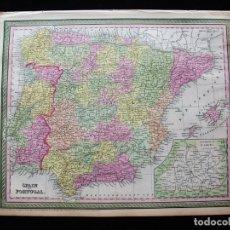 Arte: MAPA DE ESPAÑA Y PORTUGAL, 1855. DESILVER Y MITCHELL. Lote 118882855