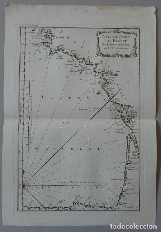 MAPA DE LA COSTA SUDOESTE DE FRANCIA Y NORTE DEL LITORAL DE ESPAÑA, 1764. BELLIN (Arte - Cartografía Antigua (hasta S. XIX))