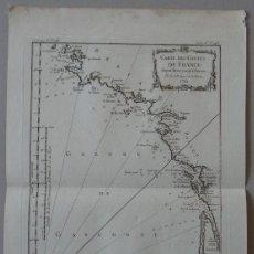 Arte: MAPA DE LA COSTA SUDOESTE DE FRANCIA Y NORTE DEL LITORAL DE ESPAÑA, 1764. BELLIN. Lote 118886903