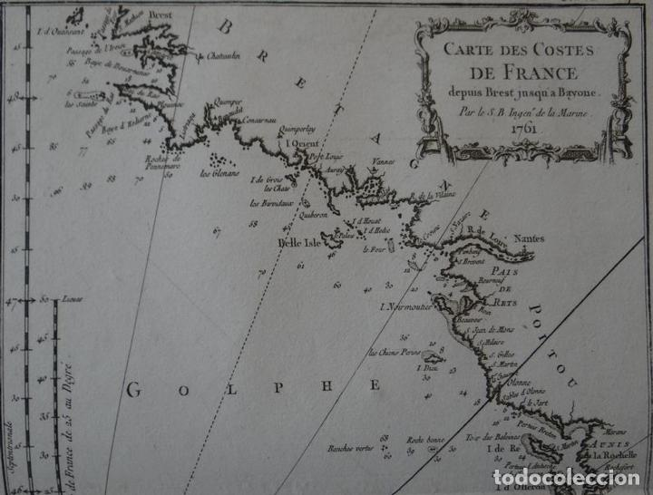 Arte: Mapa de la costa sudoeste de Francia y Norte del litoral de España, 1764. Bellin - Foto 2 - 118886903