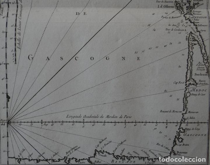 Arte: Mapa de la costa sudoeste de Francia y Norte del litoral de España, 1764. Bellin - Foto 3 - 118886903
