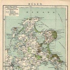 Arte: MAPA SIGLO XIX- RÜGEN - ISLA ALEMANIA - POMERANIA OCCIDENTAL- EUROPA DEL NORTE - . Lote 119118431