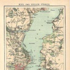 Arte: MAPA SIGLO XIX- KIEL- SCHLESWIG HOLSTEIN- ALEMANIA - PUERTO MILITAR - MAR BÁLTICO. Lote 119119387