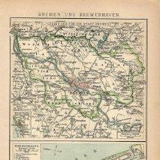 Arte: MAPA SIGLO XIX- BREMEN - PUERTO DE BREMENHAVEN - ALEMANIA - EUROPA CENTRAL. Lote 119120979
