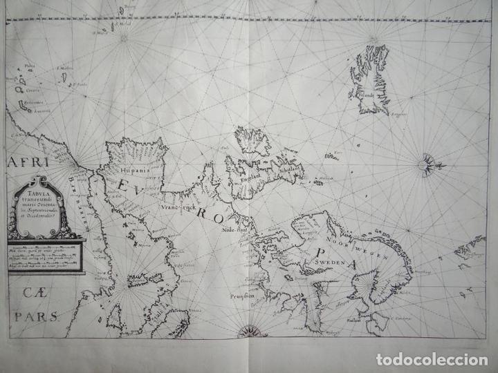 Arte: Antiguo mapa de las costas de Europa y África, 1641. Merian - Foto 2 - 119480907