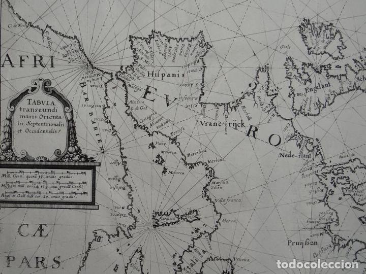 Arte: Antiguo mapa de las costas de Europa y África, 1641. Merian - Foto 3 - 119480907