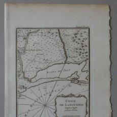 Arte: MAPA DE LA COSTA DE LANGUEDOC (FRANCIA), 1764. BELLIN. Lote 119516235