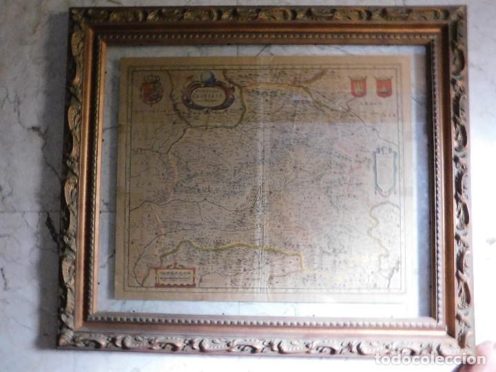 MAPA DE CASTILLA Y ALREDEDOR. ORIGINAL, JOHANNES JANSSONIUS, 1638 [ S.17 ] SIN EL MARCO (Arte - Cartografía Antigua (hasta S. XIX))