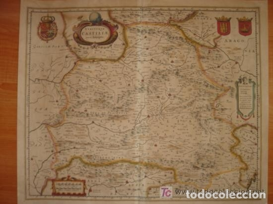 Arte: MAPA DE CASTILLA Y ALREDEDOR. ORIGINAL, JOHANNES JANSSONIUS, 1638 [ S.17 ] SIN EL MARCO - Foto 3 - 119922711