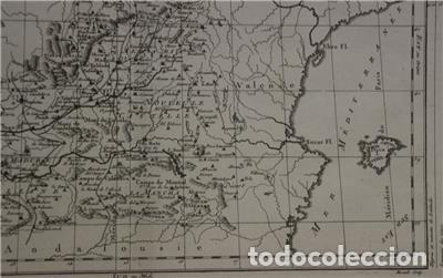 Arte: Antiguo mapa de Castilla y Valencia (España), 1787. Pretot - Foto 7 - 120190787