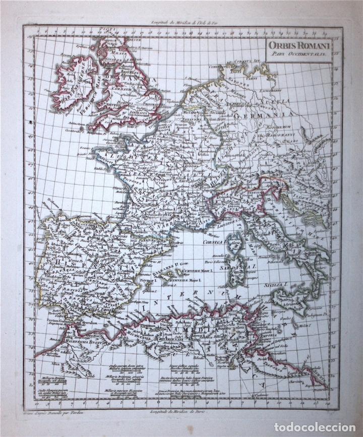 MAPA DEL IMPERIO ROMANO EUROPA OCCIDENTAL, 1804. POIRSON/TARDIEU (Arte - Cartografía Antigua (hasta S. XIX))