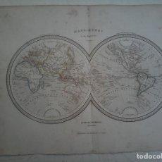 Arte: MAPAMUNDI - MAPA-MUNDI EN DOS HEMISFERIOS - LLORENS HERMANOS EDITORES - 1855. Lote 120696039