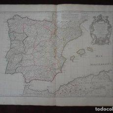 Arte: GRAN MAPA DE ESPAÑA Y PORTUGAL, 1701. GUILLAUME DELISLE. Lote 121059571