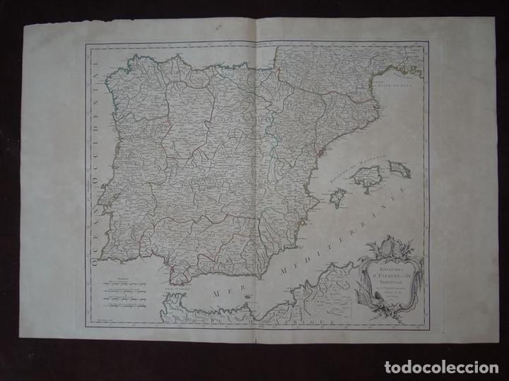 GRAN MAPA DE ESPAÑA Y PORTUGAL, 1750. ROBERT DE VAUGONDY (Arte - Cartografía Antigua (hasta S. XIX))