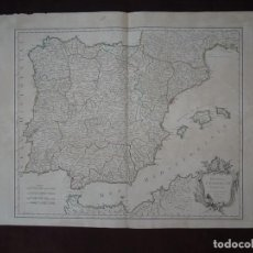 Arte: GRAN MAPA DE ESPAÑA Y PORTUGAL, 1750. ROBERT DE VAUGONDY. Lote 121059823