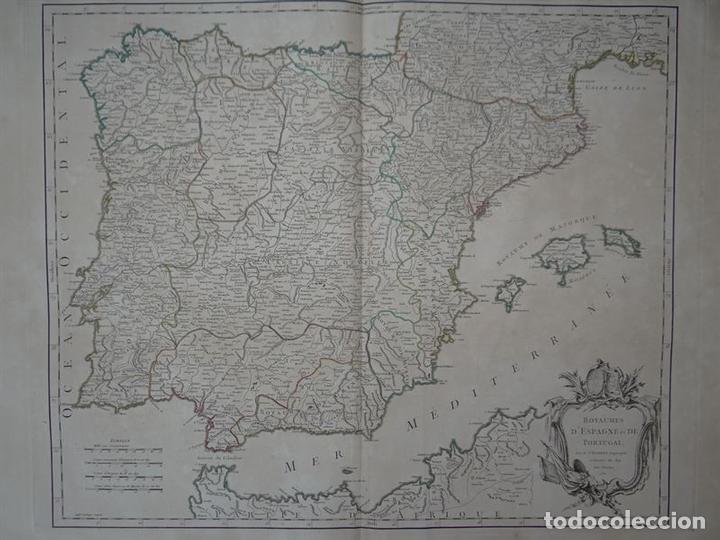 Arte: Gran mapa de España y Portugal, 1750. Robert de Vaugondy - Foto 2 - 121059823