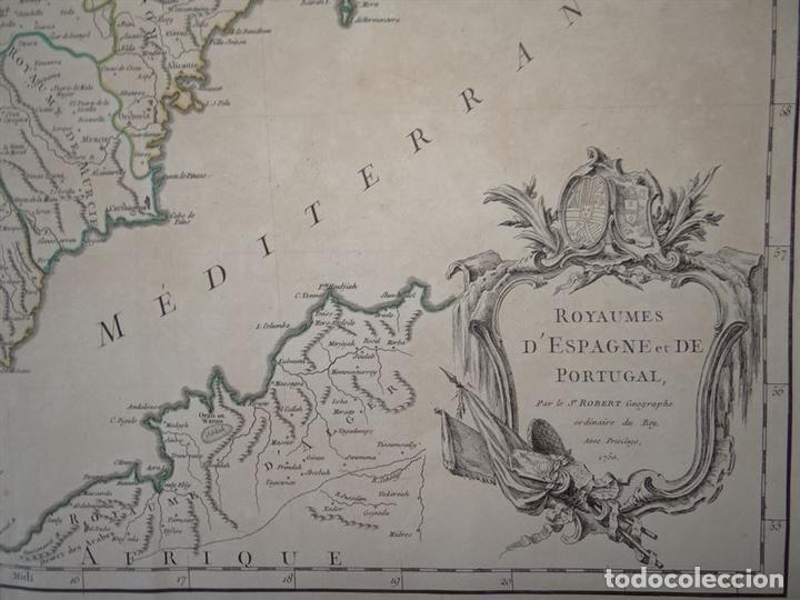 Arte: Gran mapa de España y Portugal, 1750. Robert de Vaugondy - Foto 3 - 121059823